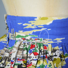 Load image into Gallery viewer, 50s 60s NAUTICAL NOVELTY SAILBOAT LANDSCAPE PRINT SUMMER SKIRT - 25.5""