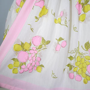 L'AIGLON PASTEL NOVELTY FRUIT PRINT 50s 60s SEMI SHEER DRESS - S
