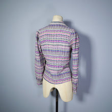 Load image into Gallery viewer, 70s does 40s ART DECO STYLE WAVY STRIPE PRINT SHIRT - XS
