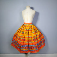 Load image into Gallery viewer, 50s VIBRANT ORANGE STRIPED FULL SWING COTTON SKIRT - 27""