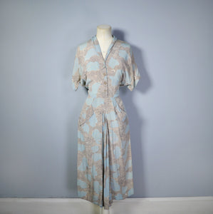 40s NOVELTY CITYSCAPE PRINT TURQUOISE AND BEIGE RAYON DRESS - M