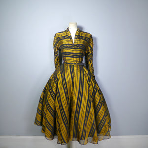 GOLD AND BLACK STRIPED early 50s FULL SKIRTED EVENING / PARTY DRESS BY DOWNS - M