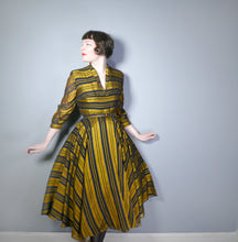 Load image into Gallery viewer, GOLD AND BLACK STRIPED early 50s FULL SKIRTED EVENING / PARTY DRESS BY DOWNS - M