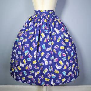 50s NOVELTY MATCHBOX AND MATCHSTICK PRINT SKIRT - 24""