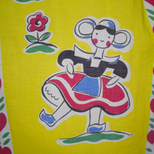 Load image into Gallery viewer, 50s YELLOW NOVELTY SKIRT IN NAIVE DUTCH PEOPLE AND LOVE HEART PRINT - 26.5""