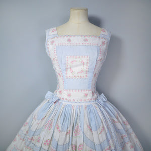50s 60s CARNEGIE FULL SKIRTED DRESS IN PASTEL BLUE WITH SMALL PINK ROSES - S