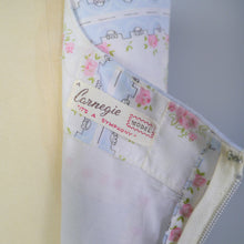 Load image into Gallery viewer, 50s 60s CARNEGIE FULL SKIRTED DRESS IN PASTEL BLUE WITH SMALL PINK ROSES - S