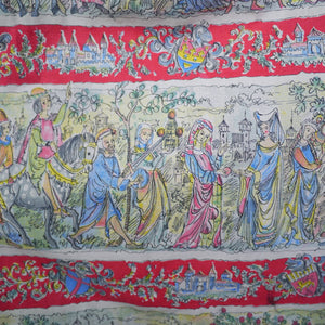 50s VINTAGE NOVELTY MEDIEVAL COURT PRINT FULL SKIRT - 27""