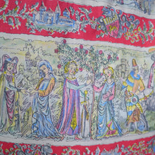 Load image into Gallery viewer, 50s VINTAGE NOVELTY MEDIEVAL COURT PRINT FULL SKIRT - 27""