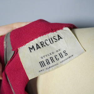 DARK REDDISH PINK COLOURED WOOL CREPE FITTED DRESS BY MARCUSA - M
