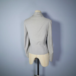 40s LIGHT GREY FITTED JACKET WITH DECORATIVE DETAILING BY LEITER OF DALLAS - M-L