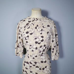 30s 40s ABSTRACT CLOUD / PLANT PRINT BROWN BIAS CUT LONG DRESS - S