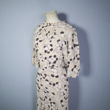 Load image into Gallery viewer, 30s 40s ABSTRACT CLOUD / PLANT PRINT BROWN BIAS CUT LONG DRESS - S
