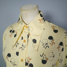 Load image into Gallery viewer, 70s BRUTUS CHARLIE CHAPLIN NOVELTY PRINT DAGGER COLLAR SHIRT - M-L