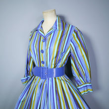Load image into Gallery viewer, COLOURFUL STRIPED 50s 60s SHIRTWAISTER COTTON DAY DRESS WITH FULL SKIRT - S-M