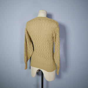AUTUMNAL POINTELLE LACE KNIT 70s does 40s V-NECK JUMPER - S-M