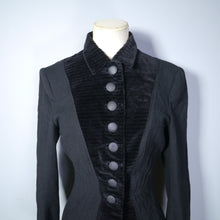 Load image into Gallery viewer, GOTHIC BLACK 40s HOURGLASS FITTED JACKET BY HERSHELLE - S