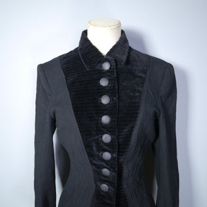 GOTHIC BLACK 40s HOURGLASS FITTED JACKET BY HERSHELLE - S