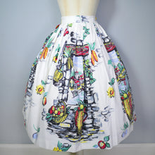 Load image into Gallery viewer, 50s SCENIC WINDOW LANDSCAPE PRINT HOLIDAY SUMMER FULL SKIRT - 26""
