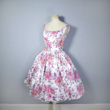 Load image into Gallery viewer, DUSKY ROSE 50s FULL SKIRTED COTTON DRESS WITH CINCH BELT - S