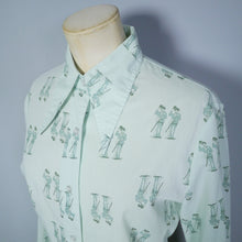 Load image into Gallery viewer, 70s BRUTUS PASTEL GREEN CHARLIE CHAPLIN PRINT NOVELTY SHIRT - M