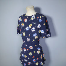 Load image into Gallery viewer, 40s FLORAL DAISY PRINT NAVY BLUE BIAS CUT PEPLUM DRESS - S