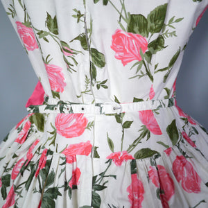 50s ROMANTIC PINK ROSE FLORAL DROP WAIST DRESS WITH FULL SKIRT - S