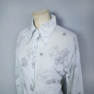 "70s ART DECO FLAPPER PRINT GREY SHIRT / BLOUSE - 36"" / S-M"