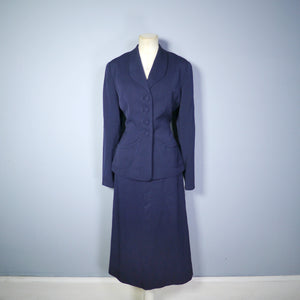 NAVY 40s FORSTMANN WOOL TAILORED 2 PIECE SKIRT SUIT - M