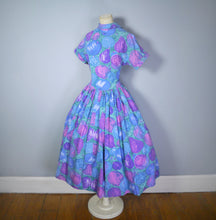 Load image into Gallery viewer, 50s PAINTERLY NOVELTY FRUIT PRINT PURPLE AND BLUE FULL SKIRT DRESS - S