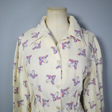 Load image into Gallery viewer, 70s NOVELTY FLORAL LADY FACE PRINT POP ART COTTON SHIRT / BLOUSE - M-L