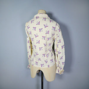 70s NOVELTY FLORAL LADY FACE PRINT POP ART COTTON SHIRT / BLOUSE - M-L