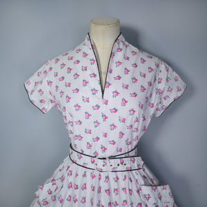 WHITE DITSY PINK FLORAL AND TINY POLKA DOT PRINT 50s DRESS AND BELT - S