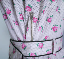 Load image into Gallery viewer, WHITE DITSY PINK FLORAL AND TINY POLKA DOT PRINT 50s DRESS AND BELT - S