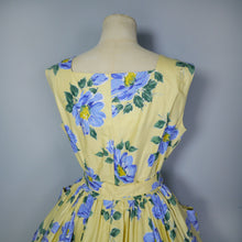 Load image into Gallery viewer, YELLOW AND BLUE FLORAL ST MICHEAL 50s FULL SKIRTED DRESS WITH BELT - M