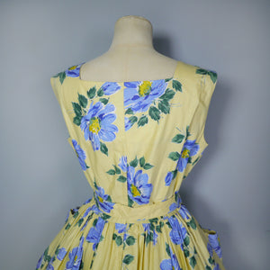 YELLOW AND BLUE FLORAL ST MICHEAL 50s FULL SKIRTED DRESS WITH BELT - M