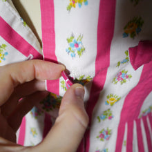 Load image into Gallery viewer, 50s LINZI LINE PINK CANDY STRIPE AND FLORAL BUTTON THROUGH DRESS - S