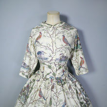 Load image into Gallery viewer, 50s 60s NOVELTY BIRD PRINT COTTON SHIRTWAISTER BY SERBIN - M-L / TALL FIT