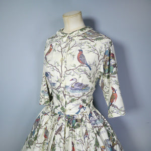 50s 60s NOVELTY BIRD PRINT COTTON SHIRTWAISTER BY SERBIN - M-L / TALL FIT