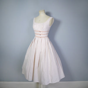50s CANDY STRIPE PINK FULL SKIRTED DAY DRESS WITH BOWS BY KANDY KOTTON - XS / PETITE FIT