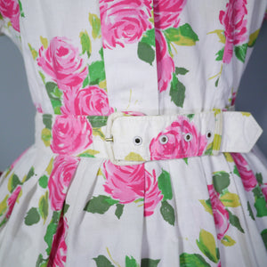 50s 60s PINK ROSE COTTON DAY DRESS WITH POCKETS AND BELT - XL / VOLUP