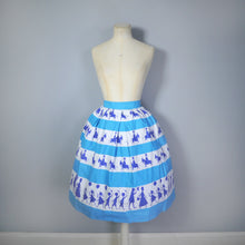 Load image into Gallery viewer, 50s ST MICHAEL NOVELTY SKIRT IN BLUE STRIPE PRINT WITH GREETING BOYS AND GIRLS - XS-S