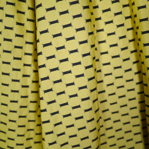 YELLOW AND BLACK 50s HORROCKSES FASHIONS DRESS WITH HUGE SWEEP - S