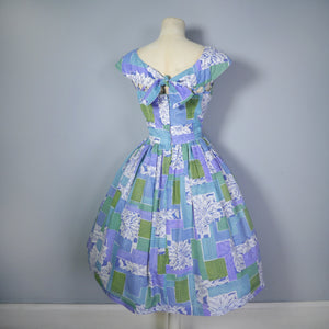 BLUE 50s 60s FULL SKIRTED DRESS WITH CUT OUT NECKLINE - M