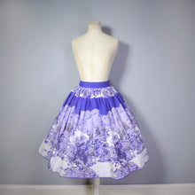 Load image into Gallery viewer, 50s HANDMADE BLUEY PURPLE EAST ASIAN LANDSCAPE BORDER PRINT SKIRT - 25.5-26""