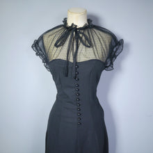 Load image into Gallery viewer, GOTHIC BLACK 70s DRESS WITH MESH NECKLINE AND BUTTON DETAIL - M