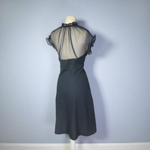 GOTHIC BLACK 70s DRESS WITH MESH NECKLINE AND BUTTON DETAIL - M