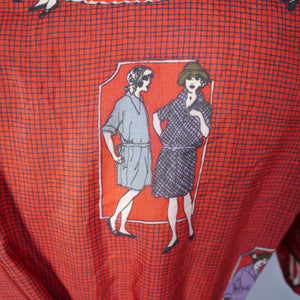 RED 70s NOVELTY DECO STYLE FASHION ADVERTISING PRINT BLOUSE TOP - S-M