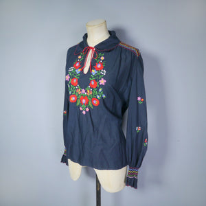 BLACK 70s HUNGARIAN EMBROIDERED FLORAL PEASANT TUNIC BLOUSE - M