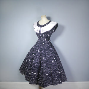 BLACK ABSTRACT PAINT SPATTER PRINT 50s DRESS WITH BIG COLLAR - s